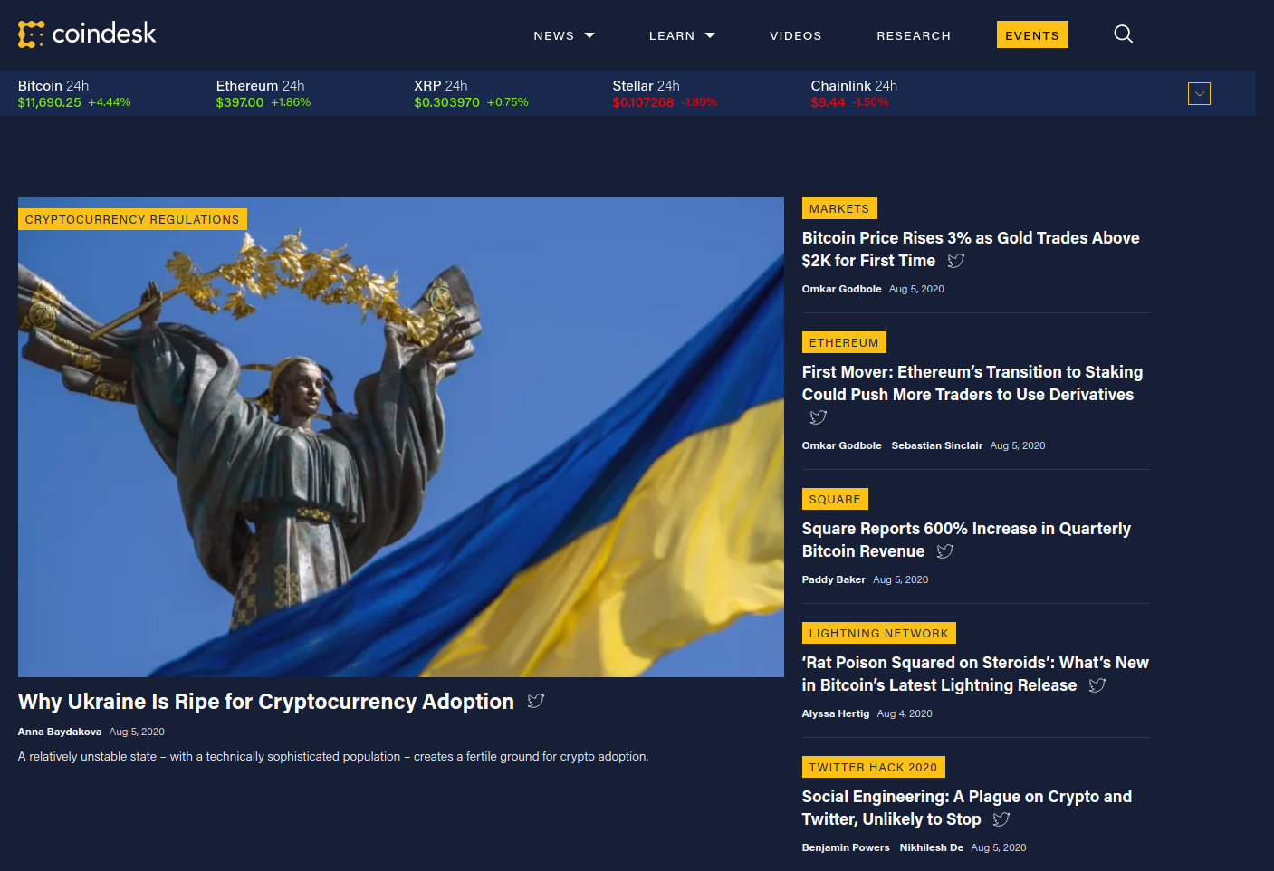 The front page of CoinDesk in August 2020.