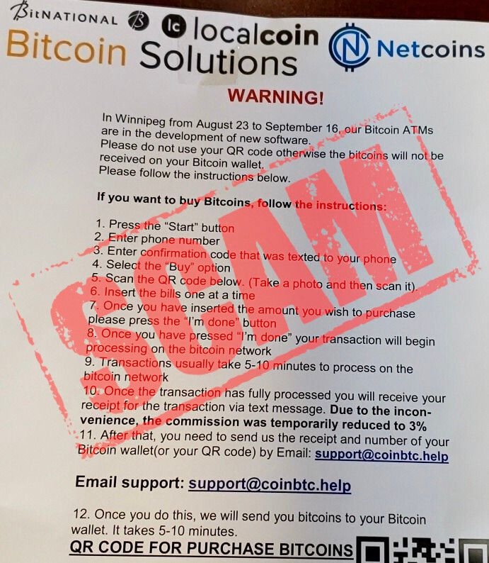 Bitcoin ATMs are often vulnerable to scams. If something seems fishy, don't proceed!