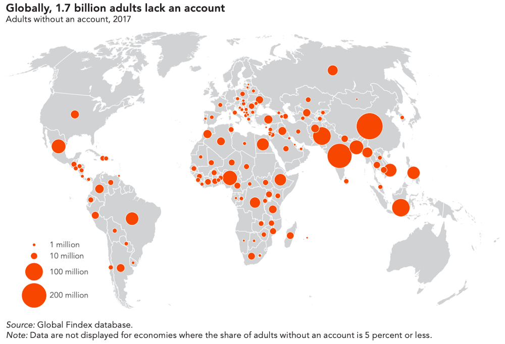 A map of unbanked and underbanked populations by the World Bank.