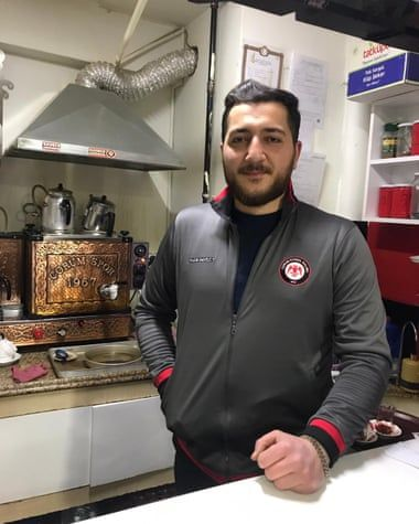 Hüseyin Nalcı, 38, co-owner of the Kırmızı Şimşekler (Red Lightning) teahouse in Çorum, Turkey, where he accepts crypto. By The Guardian.