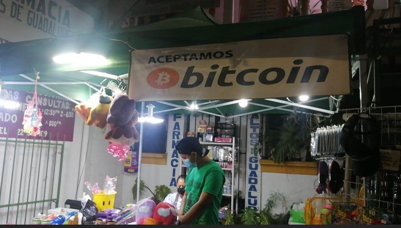 """Many small businesses in El Zonte's """"Bitcoin Beach"""" proudly accept Bitcoin. By Bitcoin Beach."""