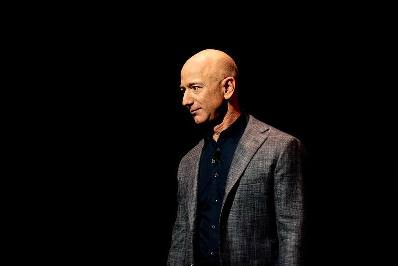 Just days after Jeff Bezos's private spaceflight, Amazon rumors sent crypto prices moonward. By Daniel Oberhaus, 2019, licensed under CC BY 2.0.