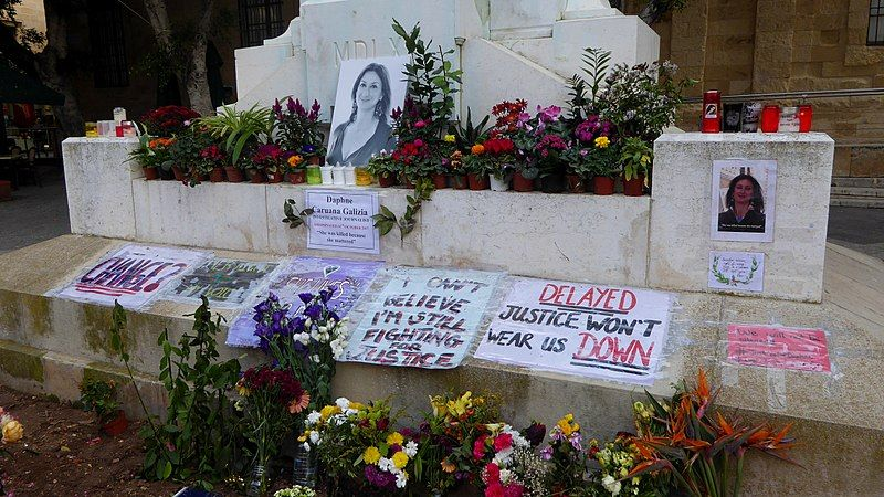 Daphne Caruana Galizia's murder in a car bombing after uncovering corruption among Malta's business and political elites sparked widespread protests. By Ethan Doyle White via Wikimedia Commons, licensed under CC BY-SA 4.0.