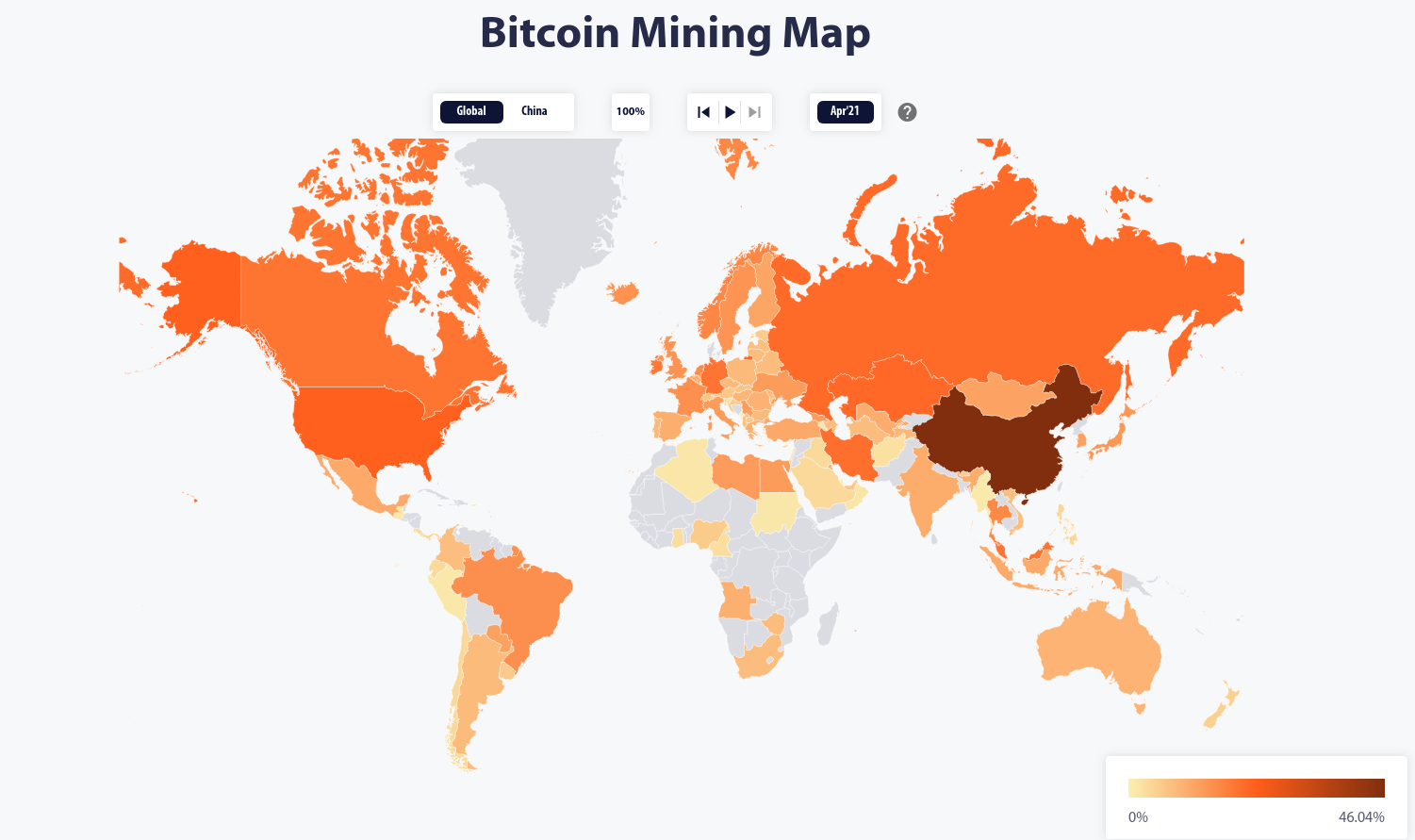 This visualization from shortly before China's 2021 mining crackdown shows China accounting for nearly half of all mining power, more than double the second-place US. By Cambridge Bitcoin Electricity Consumption Index.